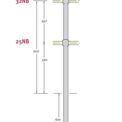 Stanchion In Ground 1200 Medium Hot Dip Galvanised Standard Drilling