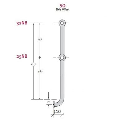 Stanchion Side Offset Medium Mild Steel
